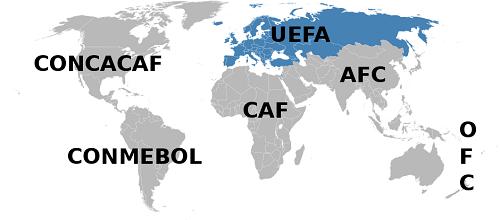 UEFA mapa, Unija Evropskih Fudbalskih Asocijacija