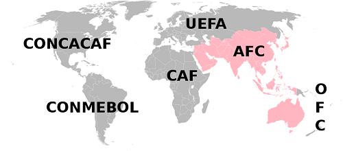 Mapa AFC, Azijska fudbalska konfederacija