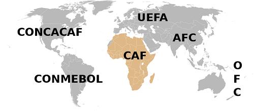 Mapa CAF, Afrička fudbalska konfederacija -