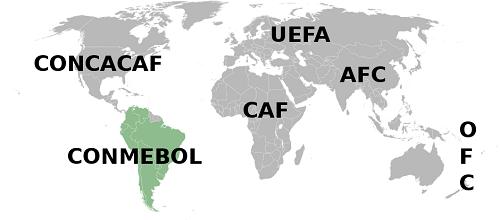 Mapa CONMEBOL, Fudbalska konfederacija Južne Amerike