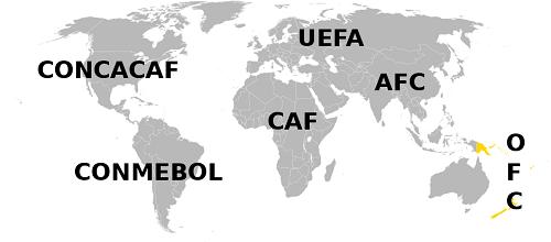 Mapa OFC,  Fudbalska konfederacija Okeanije