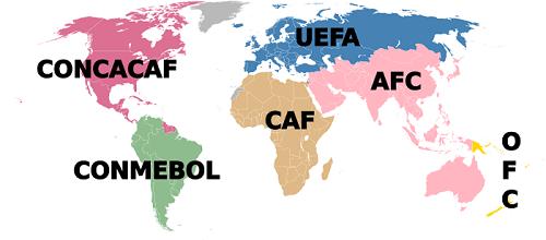 Mapa FIFA konfederacija, Međunarodna federacija fudbalskih asocijacija